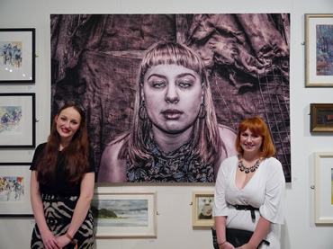 Thumbnail image of Tiffany Tangen in front of her prize-winning work 'Exhausted and Exhibited' - Preview Evening: LSA Annual Exhibition 2016