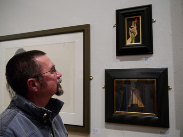 Thumbnail image of Dylan Waldron infront of his prize-winning work 'An Open Window' - Preview Evening: LSA Annual Exhibition 2016