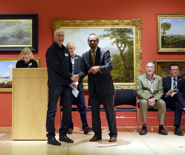 Thumbnail image of From left, Sarah Levitt, Geoffrey Beasley receiving the George Pickard prize from Cllr Piara Singh Clair, Jeremy Webster, Chris Hailes - Preview Evening: LSA Annual Exhibition 2016
