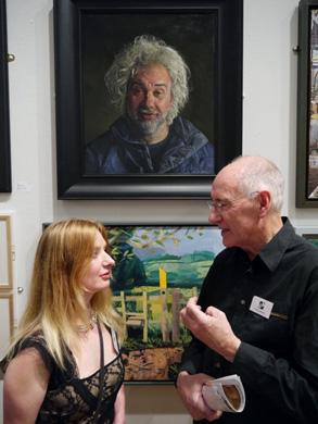 Thumbnail image of Maria Collingham and Geoffrey Beasley infront of his prize-winning work 'Mingus' - Preview Evening: LSA Annual Exhibition 2016