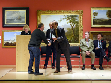 Thumbnail image of From left: Sarah Levitt, Graeme Hawes receiving the Guy Dixon Prize from Cllr Piara Singh Clair, Jeremy Webster, Chris Hailes - Preview Evening: LSA Annual Exhibition 2016