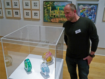 Thumbnail image of Graeme Hawes with his prize-winning glass pieces - Preview Evening: LSA Annual Exhibition 2016