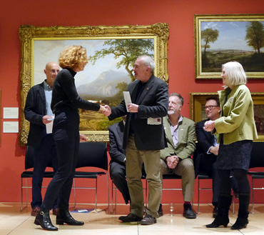 Thumbnail image of From left: Trevor Bent, Student Runner-Up Alice Heaton, Marck Geary, (Jeremy Webster and Chris Hailes seated), Gillian Geary - Preview Evening: LSA Annual Exhibition 2016