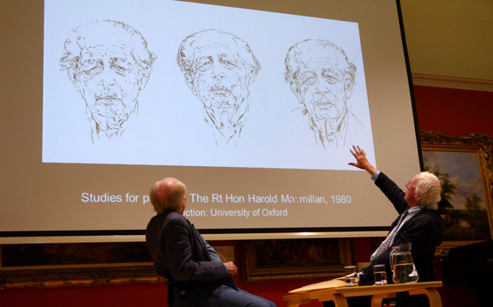 Michael Attenborough & Bryan Organ with portrait of  Harold Macmillan