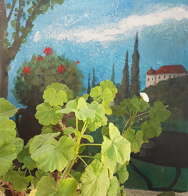 Thumbnail image of Mural by George Sfougaras in Potamies - Art Abroad - George Sfougaras Paints In Potamies