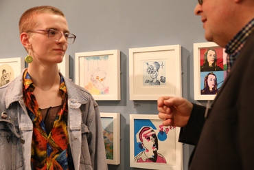 Thumbnail image of Tristan Angus (Leicester College student) beside his prizewinning print 'Self Portrait'with Lars Tharp - Little Selves - Preview Photographs