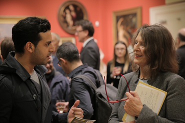 Thumbnail image of Vishal Joshi with LSA Chair Suzanne Harry - LSA Annual Exhibition 2017 Preview Evening