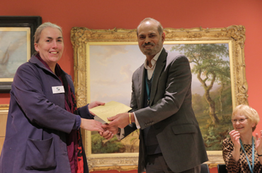 Thumbnail image of Cllr Piara Singh Clair presents the Henton Ellis Prize to LSA member Sarah Kirby - LSA Annual Exhibition 2017 Preview Evening