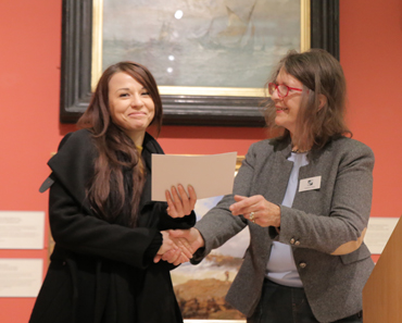 Thumbnail image of Suzanne Harry presenting the LSA Student Award Runner Up Prize to Stefania Laccu - LSA Annual Exhibition 2017 Preview Evening