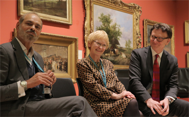 Thumbnail image of Deputy City Mayor Cllr Piara Singh Clair: Head of Arts and Museum, Sarah Levitt; Chris Hailes of Charles Stanley - LSA Annual Exhibition 2017 Preview Evening