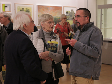 Thumbnail image of John Hind, Mary Hind, Dylan Waldron at the preview of LSA Annual Exhibition 2017 - LSA Annual Exhibition 2017 Preview Evening