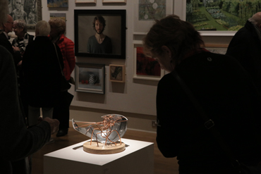 Thumbnail image of Preview of LSA Annual Exhibition 2017 with 'What a Web We Weave', sculpture by Carl Swanson in the foreground - LSA Annual Exhibition 2017 Preview Evening