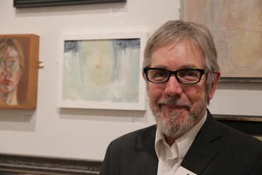 Thumbnail image of Charles Stanley Silver Prize winning Dave Pigeon infront of his 'girl in Constant Fog' in the LSA Annual Exhibition 2017 - LSA Annual Exhibition 2017 Preview Evening