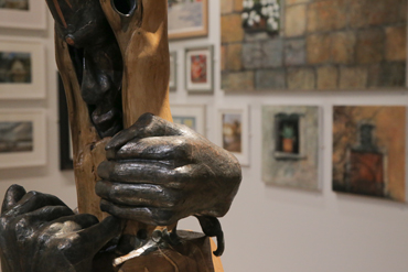 Thumbnail image of LSA Annual Exhibition 2017 with a section of sculpture 'Gwydion & Lieu' in the foreground - LSA Annual Exhibition 2017 Preview Evening
