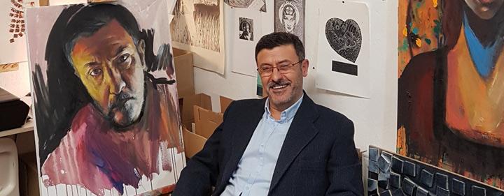 George Sfougaras in his studio