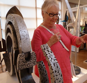 Thumbnail image of John Sydney Carter 'Wave Form' sculpture and LSA member Kathie Layfield - We Explore The Studio Of John Sydney Carter