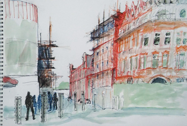 Thumbnail image of Alison Cork - Let's Draw The Cultural Quarter - Leicester's 2nd Urban Sketching Success