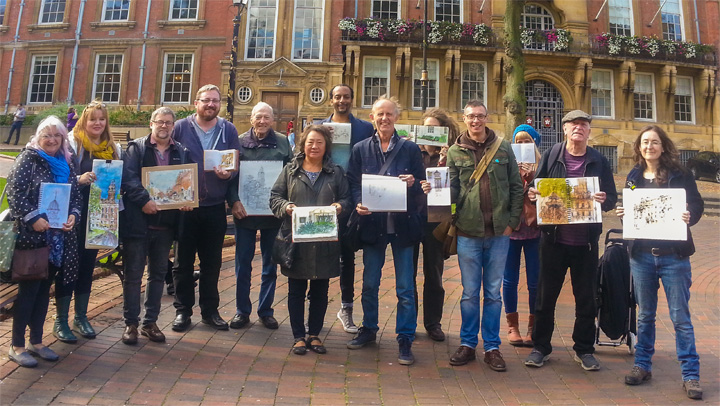 Urban sketchers in Leicester