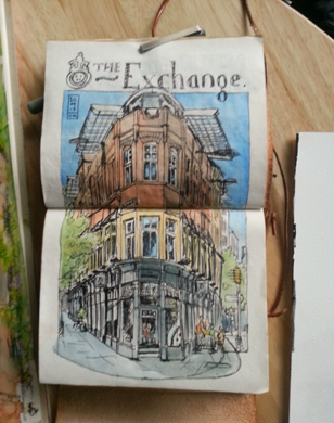 Thumbnail image of Con McEwan - Over 30 Urban Sketchers In Leicester's First Sketchcrawl