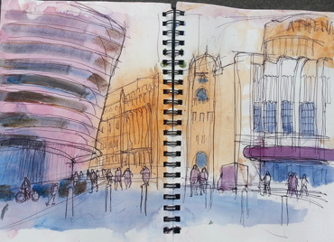 Over 30 Urban Sketchers In Leicester's First Sketchcrawl