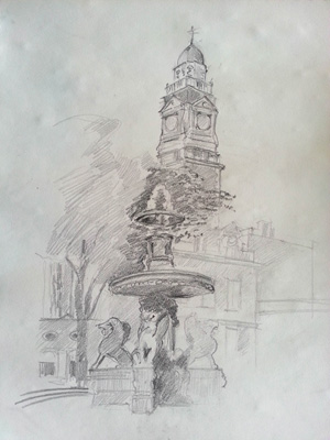 Thumbnail image of John Nixon - Over 30 Urban Sketchers In Leicester's First Sketchcrawl