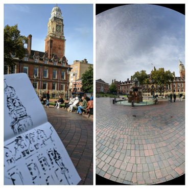 Thumbnail image of Drawing by Emma Fitzpatrick, photograph by Sue Clegg - Over 30 Urban Sketchers In Leicester's First Sketchcrawl