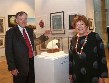 Thumbnail image of Sir Bob Burgess & Prof Hilary Burgess with The Burgess Sculpture Prize, by Yvonne Anderson - LSA Annual Exhibition 2018 Preview Evening