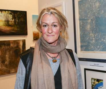 Thumbnail image of Jo McChesney, winner of the Print Prize, at the preview - LSA Annual Exhibition 2018 Preview Evening