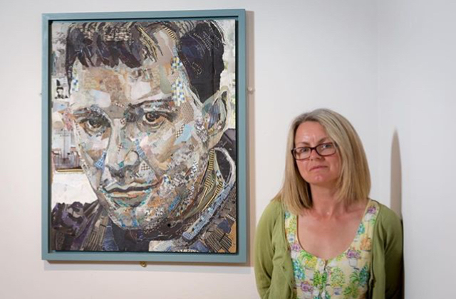 Danielle Vaughan infront of her portrait of Joe Orton