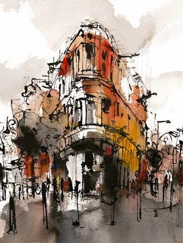Introduction image for Emma Fitzpatrick's urban paintings on show in Leicester city centre
