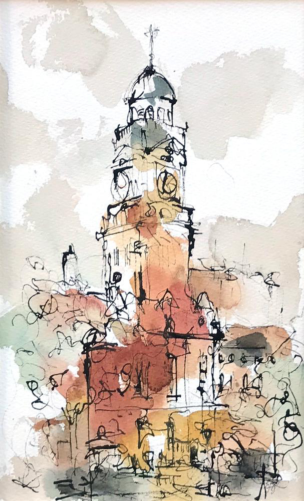 The Town Hall, Leicester, painting by Emma Fitzpatrick