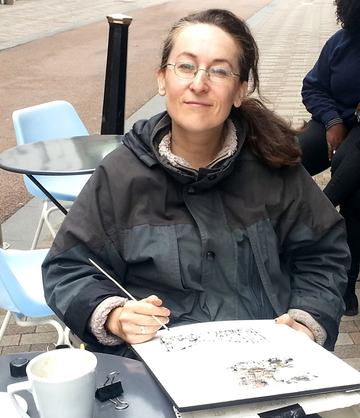 Photograph of Emma Fitzpatrick urban sketching in