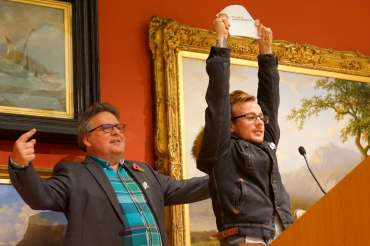 Thumbnail image of Lars Tharp and Student Award Runner Up Jay Clarke - LSA Annual Exhibition - Preview Evening