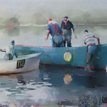 Chris Macauley, 'Fishermen, Teign Estuary', (detail)