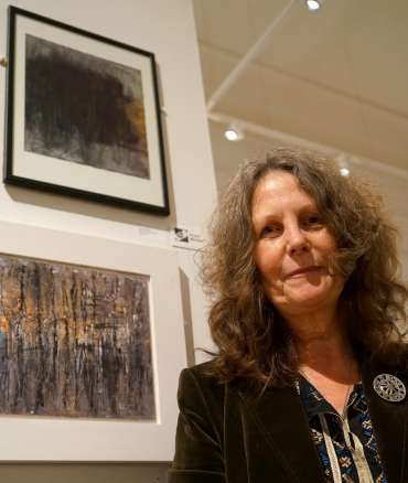 Thumbnail image of Winner of The Henton Ellis Prize, Jacquie Gallon, with her prizewinning work 'Woodland Abstraction'. - LSA Annual Exhibition - Preview Evening