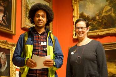 Thumbnail image of Student Award Runner Up Jarvis Brookfield and LSA Chair Ruth Singer - LSA Annual Exhibition - Preview Evening