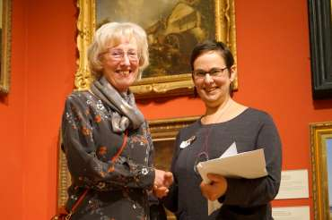 Thumbnail image of Lesley Brooks receiving the Rosemary & Co Brushes Prize, Ruth Singer - LSA Annual Exhibition - Preview Evening