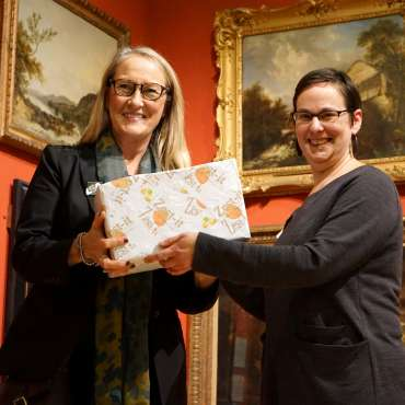 Thumbnail image of Lisa Timmerman is presented with the Zest-It Oil Painting Prize by Ruth Singer - LSA Annual Exhibition - Preview Evening