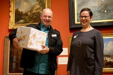 Thumbnail image of Pete Underhill receives the Zest-It Oil Painting Prize from LSA Chair Ruth Singer - LSA Annual Exhibition - Preview Evening