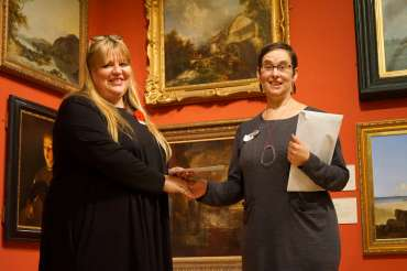 Thumbnail image of Winner of the Gadsby's Prize Sue Clegg with LSA Chair Ruth Singer - LSA Annual Exhibition - Preview Evening