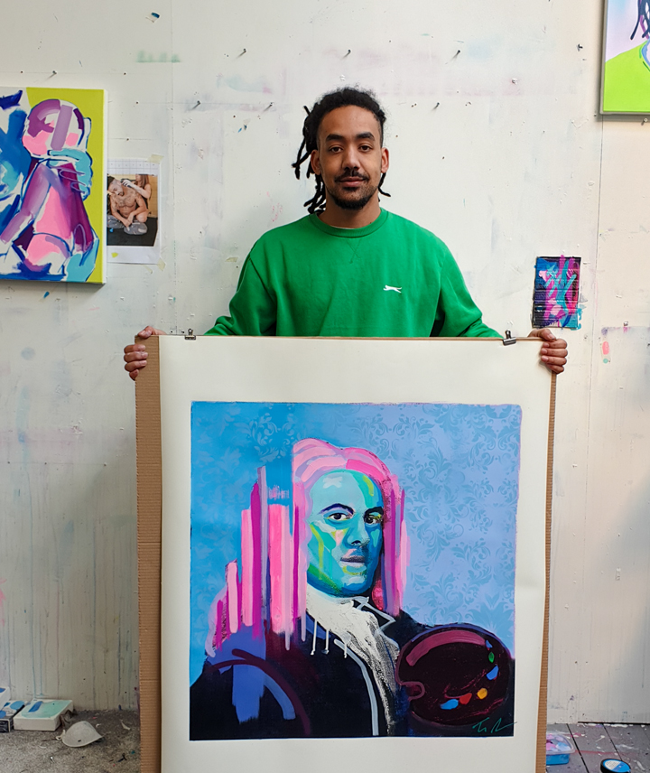Tim Fowler with his painting of William Hogarth
